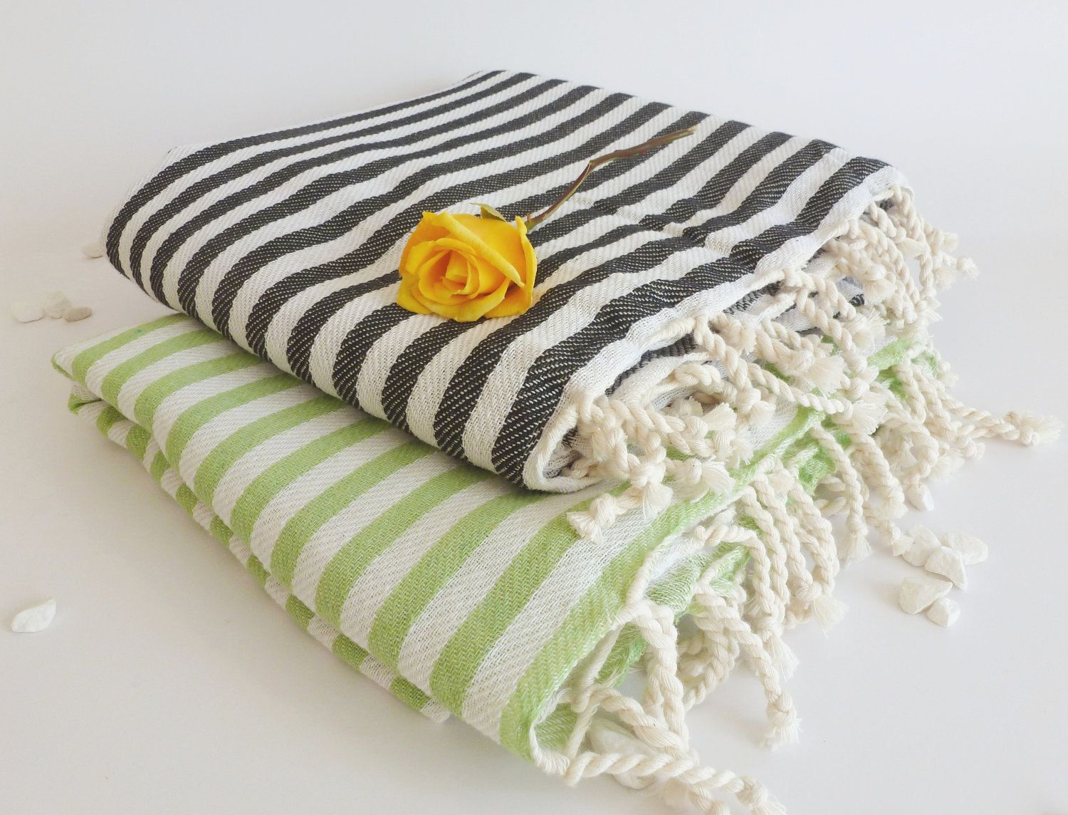 Set Of 2 Turkish Bath Towel Peshtemal Light And Thin Bath Beach