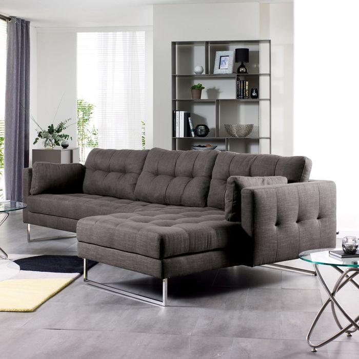 Paris Right Hand Corner Sofa Dark Grey Corner Sofa Dark Grey