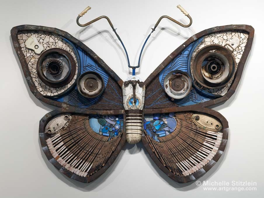 Sulphur blue smeck moth 2005 made from found objects for Waste material object