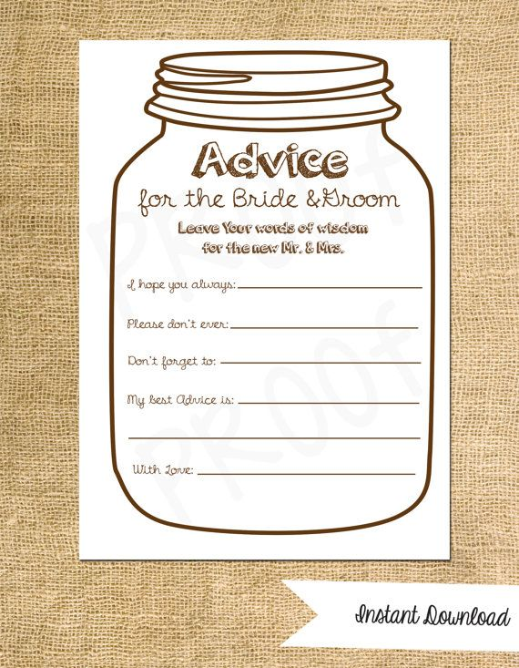 Advice For The Bride To Be Game For The Bridal Shower Or Etsy Bridal Shower Decorations Rustic Advice Cards Couple Shower