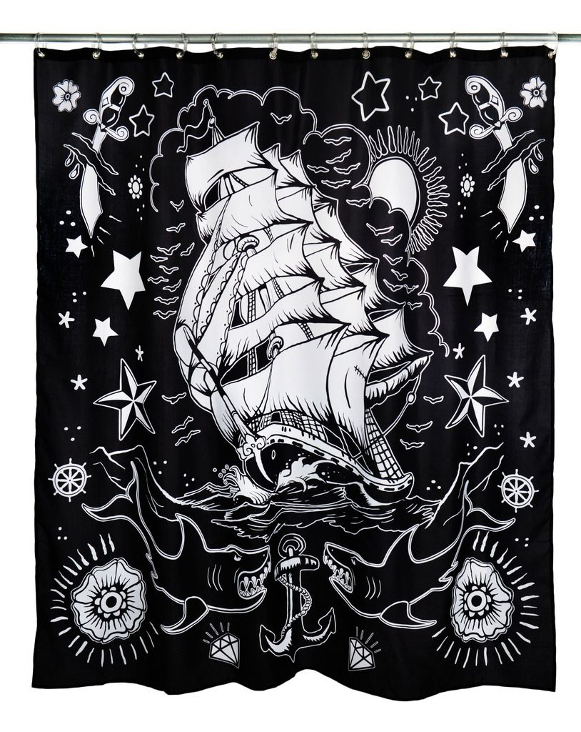 Inked boutique nautical tattoo shower curtain american