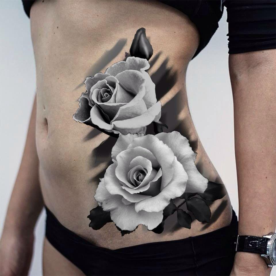 Rose Tattoo Side Black: White Rose Tattoos, Rose Tattoos