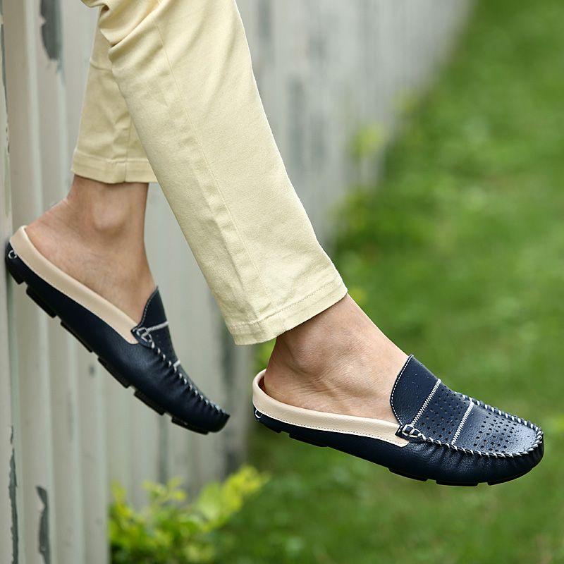 Moda de verano cuero genuino de los planos de los deslizadores medio hombres de sandalias casuales confortables hombre de los holgazanes mocasines hechos a mano en Planos de Calzado en AliExpress.com | Alibaba Group