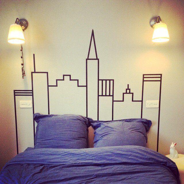 Une tête de lit avec du masking tape la chambre des enfants - papier peint pour chambre a coucher