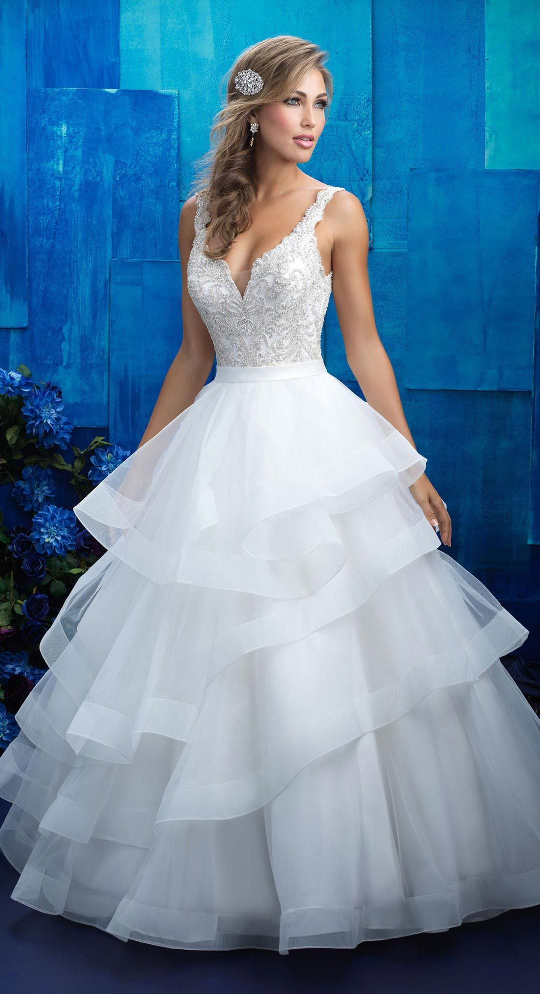 Allure Bridals style 9418, features a full skirt with tiered ...