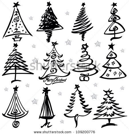 Pin By Annie Didier On Graphic Signs Symbols Inspiration Collection Christmas Tree Design Christmas Tree Drawing Ribbon On Christmas Tree