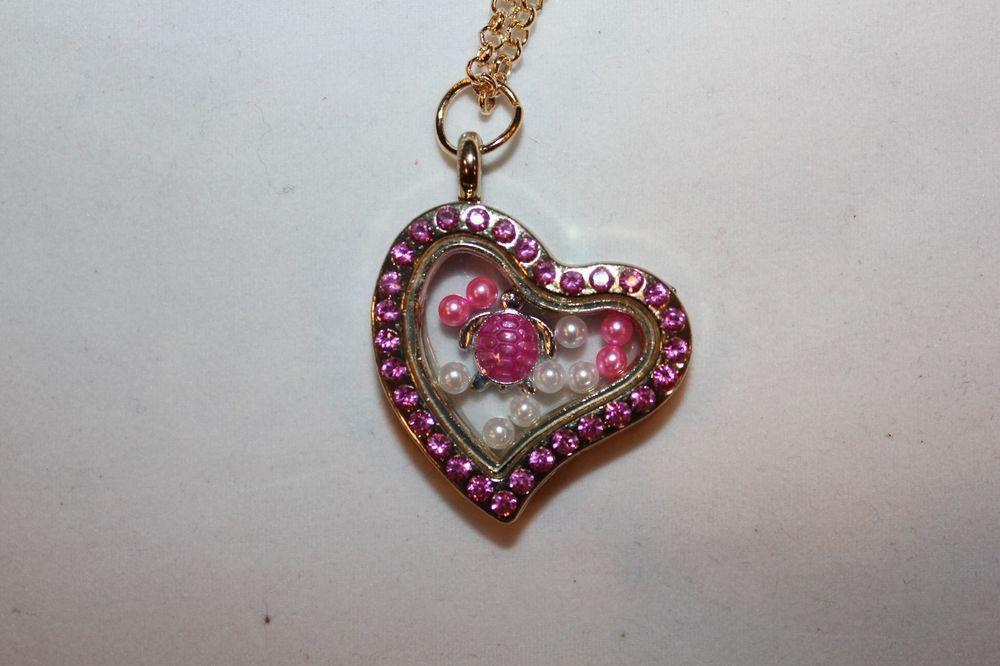 Living Floating Charm Memory Heart Locket Necklace US Seller