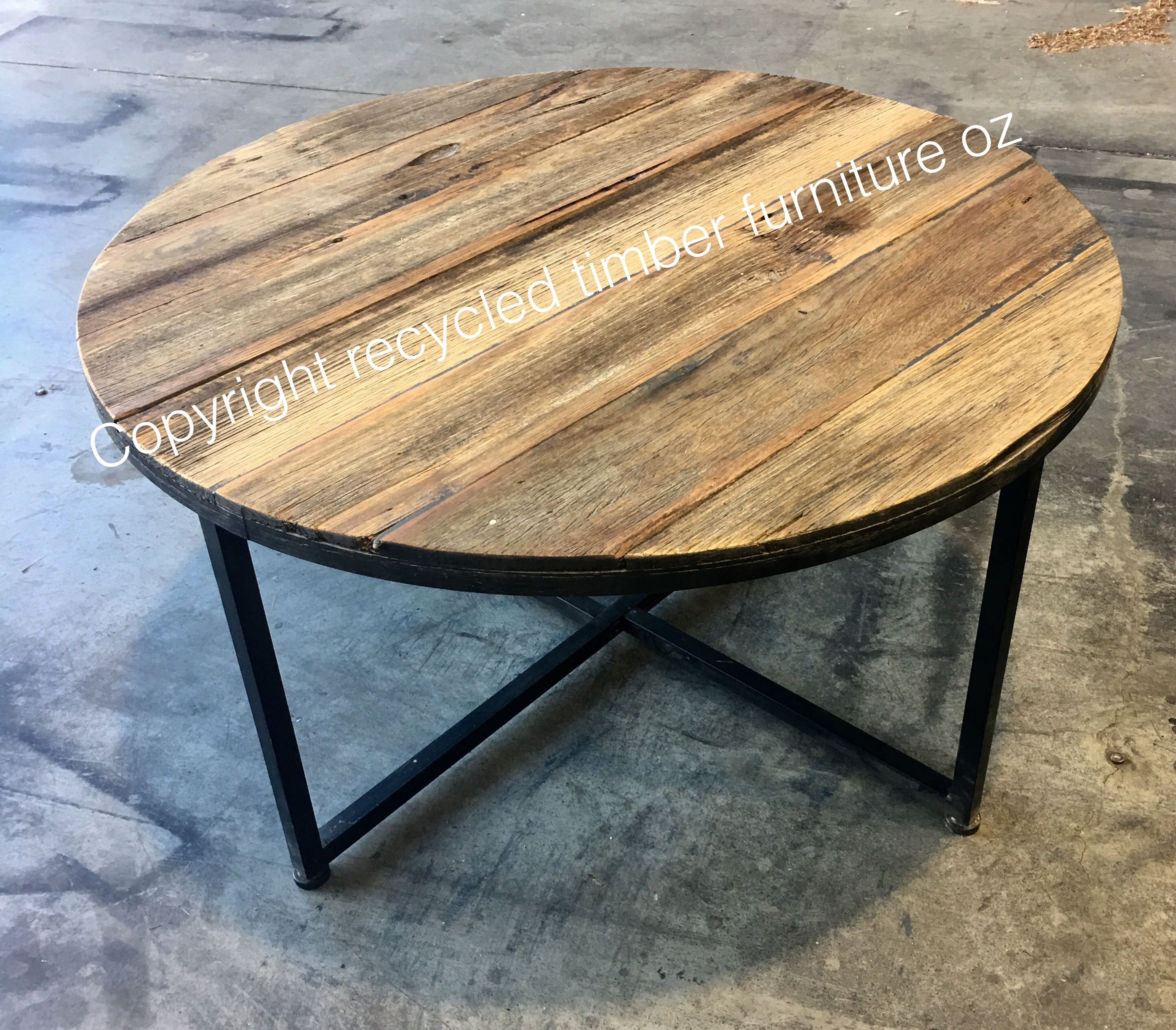 Recycled Timber Palings Industrial Round Coffee Table Made From Recycledtimberfurnitureoz Com Furniture Recycle Timber Coffee Table [ 2535 x 2894 Pixel ]