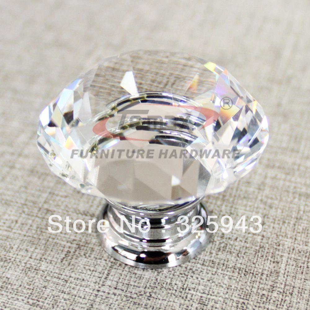 Powder Room Cabinet Handles 30mm Zinc Alloy Clear Crystal Sparkle