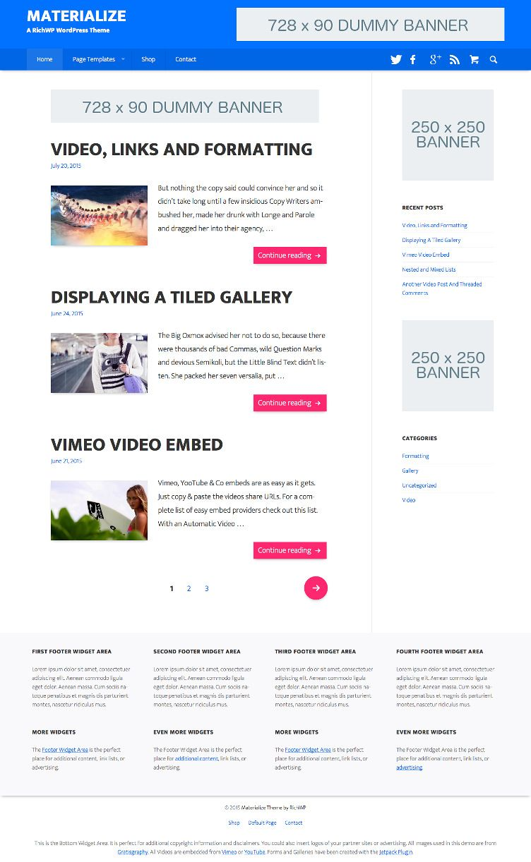 Material Design Wordpress Theme Materialize Blog Themes