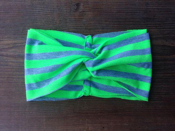 Neon Green and Grey Striped Turban by SimpleBeautyHeadband on Etsy