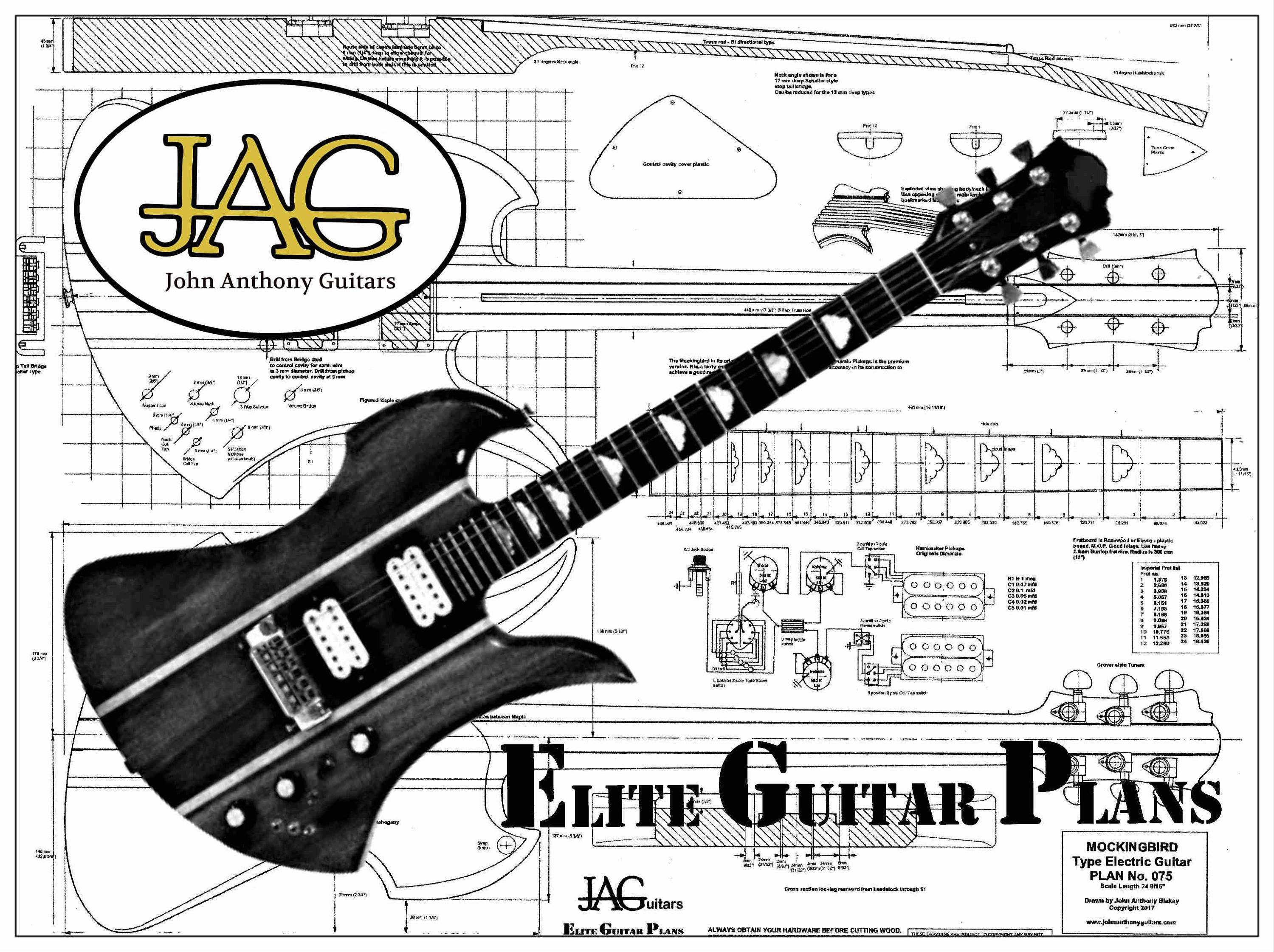 f948163f8 Rolled luthiers plan to build a B.C Rich Mockingbird guitar for DIY project  or ideal gift. by JohnAnthonyGuitars on Etsy