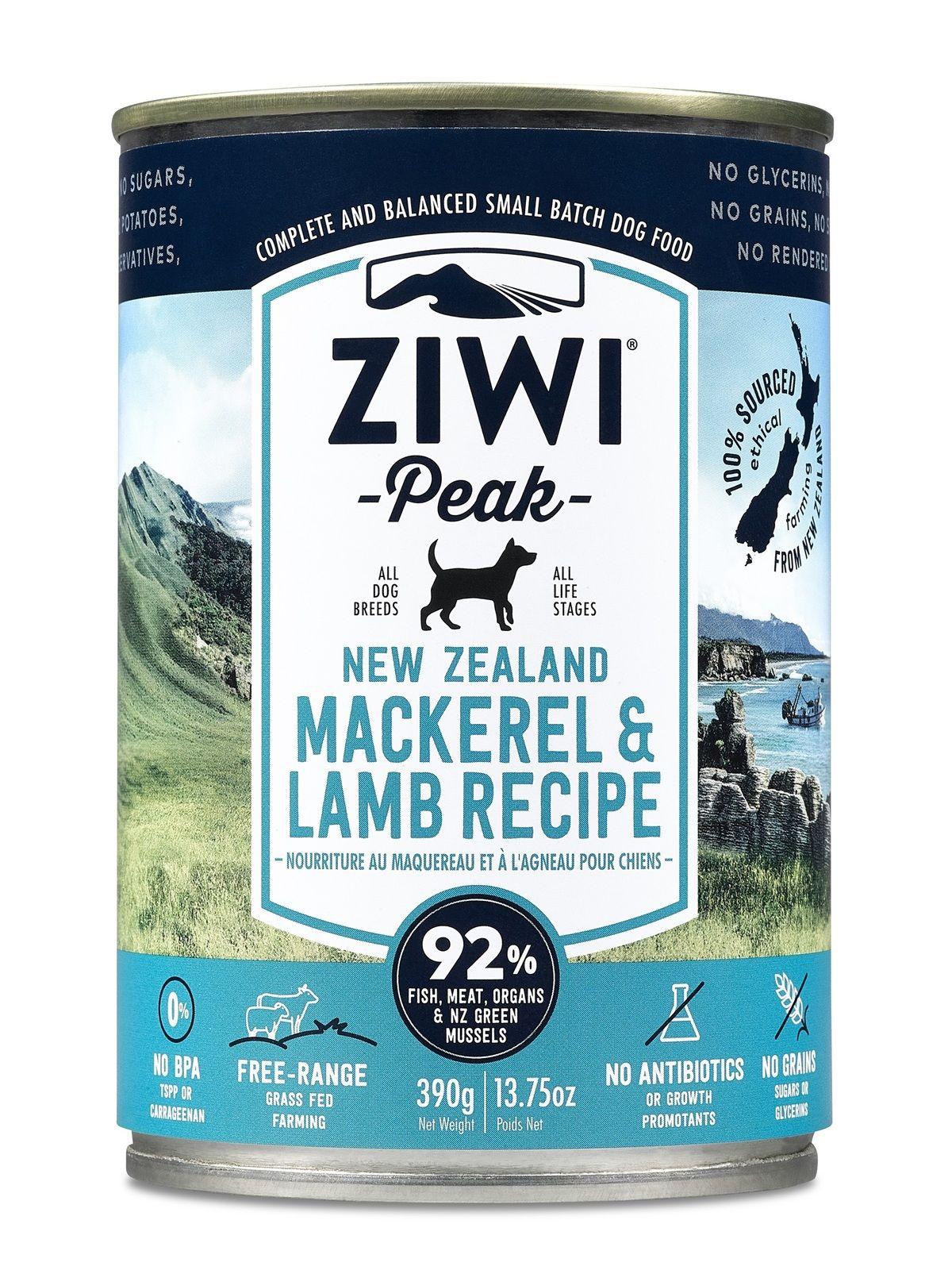 Ziwi Peak Moist Dog Food 12 Cans X 390g Mackerel Lamb Dog