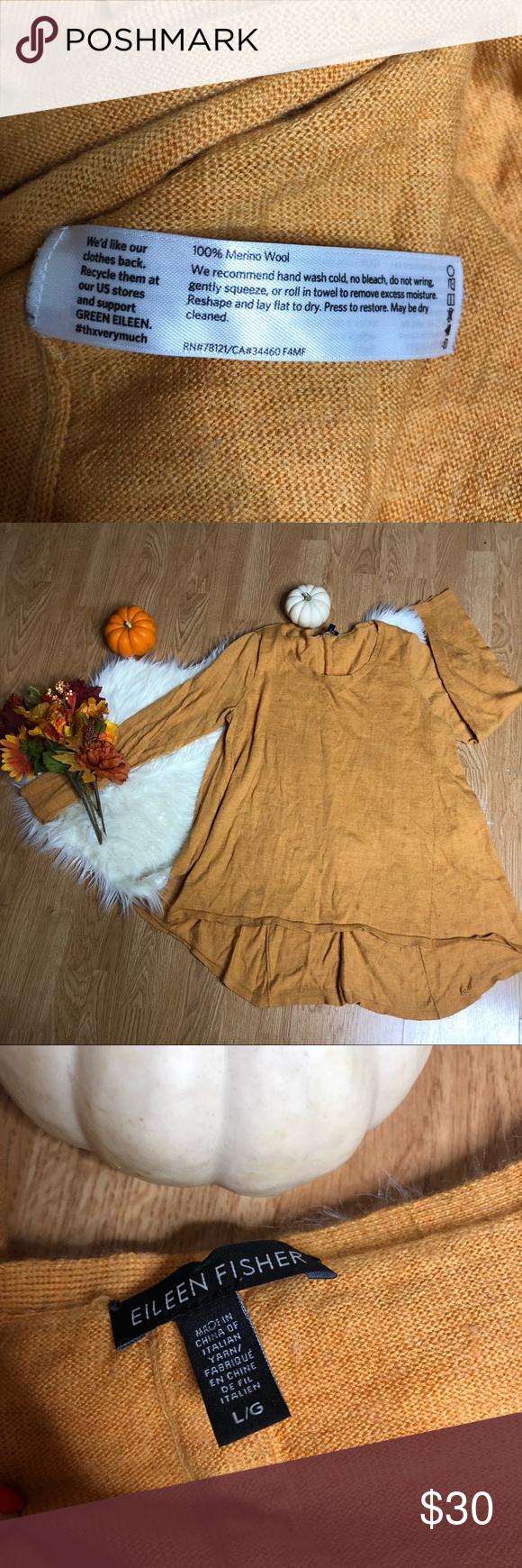 Eileen Fisher 100 Merino wool sweater size L Eileen