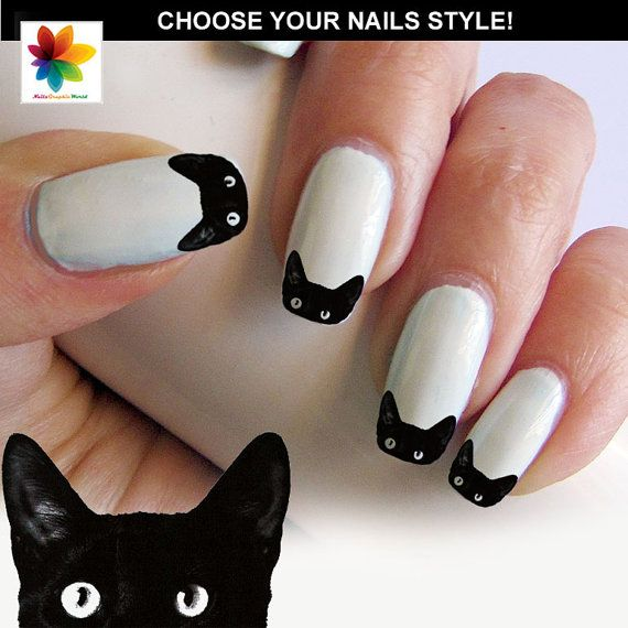Black cat nail cat face nail puppy 100 waterslide stickers black black cat nail prinsesfo Images