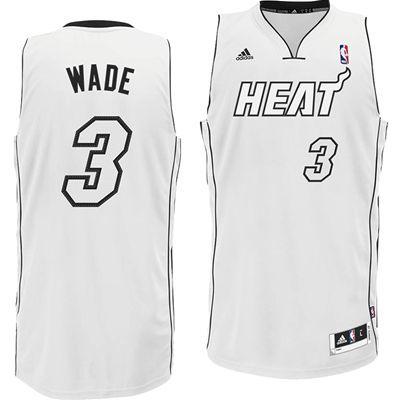 purchase cheap 1c875 96a3a Miami Heat Adidas NBA Dwyane Wade #3 Swingman Jersey (White ...