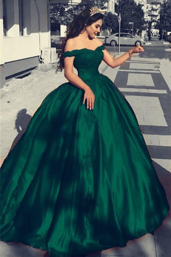 Prom Dresses Elegant Green Satin Off The Shoulder Ball Gowns Wedding Dresses Lace Appliques York Dresses#design #model #dress #shoes #heels #styles #outfit #purse #jewelry #shopping #glam #love #amazing #style #swag
