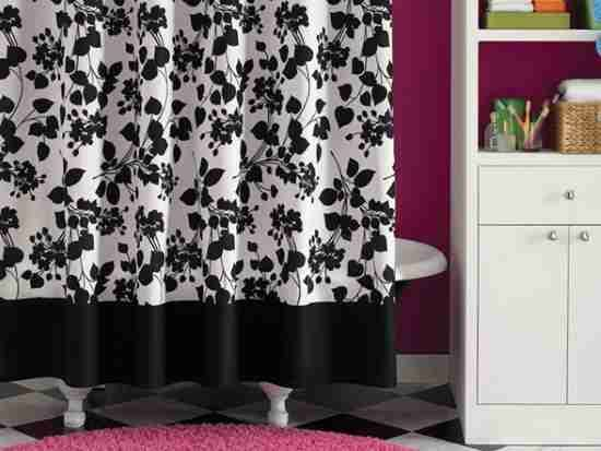 Black And White Floral Shower Curtain Country Bathroom Decor