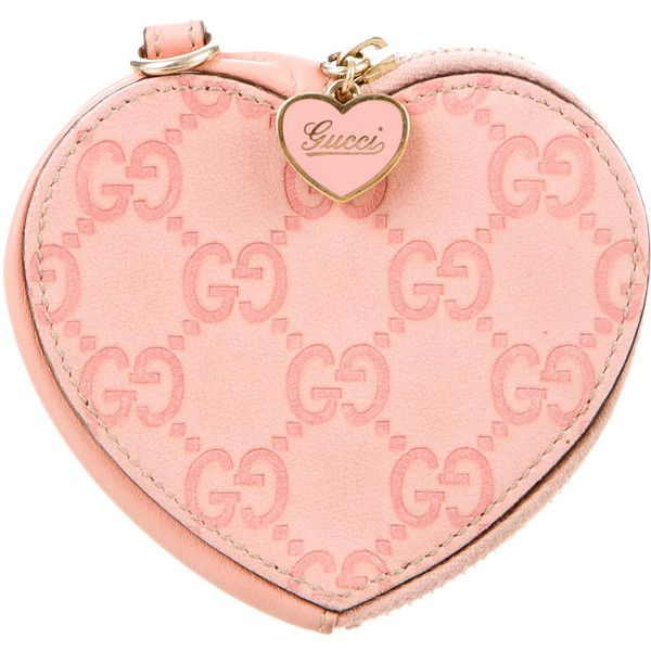7a6ecc82a38 Pre-owned Gucci Guccissima Heart Coin Pouch ( 175) ❤ liked on Polyvore  featuring bags
