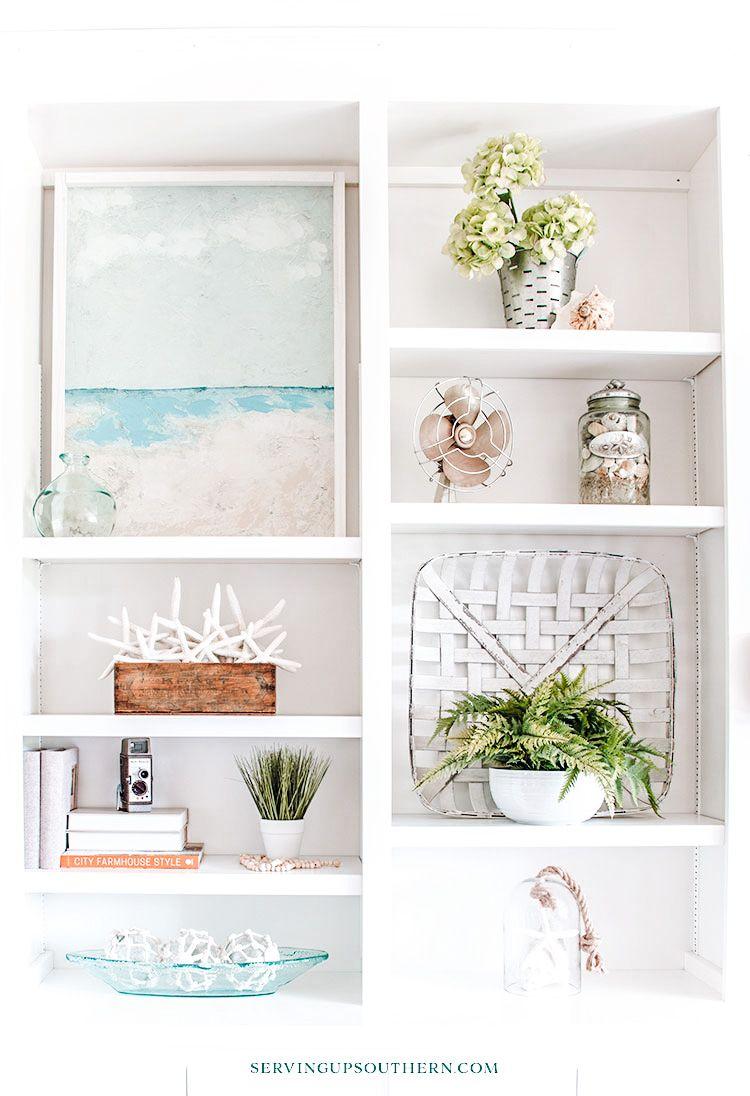 How To Style Bookshelves For A Coastal Farmhouse Look