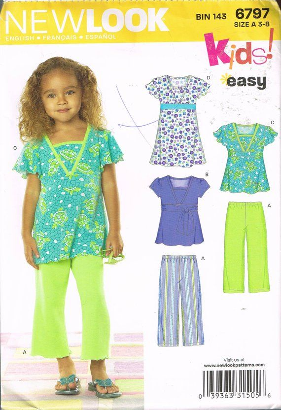 Size 3-8 Girls Easy Top & Pants Sewing Pattern - Short Sleeve Tunic ...