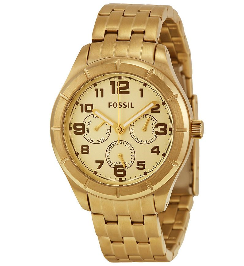 New Fossil Gold Tone Wrist Watch for Men Fossil Sport
