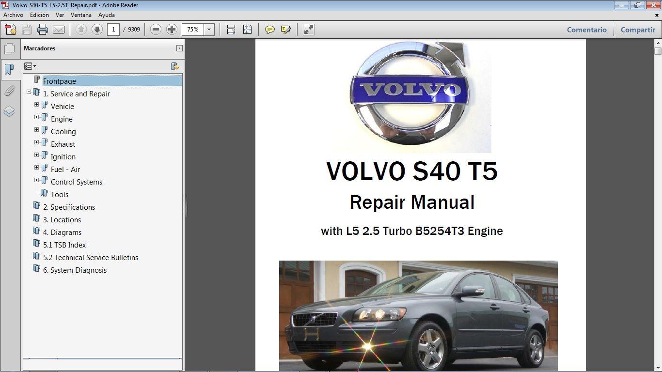 Volvo S40 Workshop Repair Manual Manual De Taller Volvo S40 Volvo Volvo S40 T5
