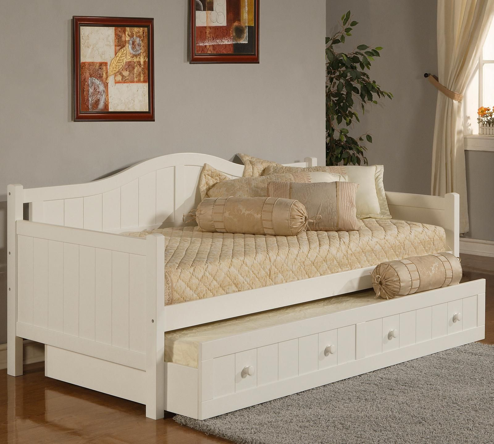 Gorgeous Full Size Daybed With Trundle And Storage Drawer White Daybed With Trundle Daybed With Trundle Wood Daybed White wood daybed with trundle