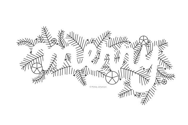 Be Positively Merry With a Negative Space Embroidery Pattern: Merry Embroidery Pattern