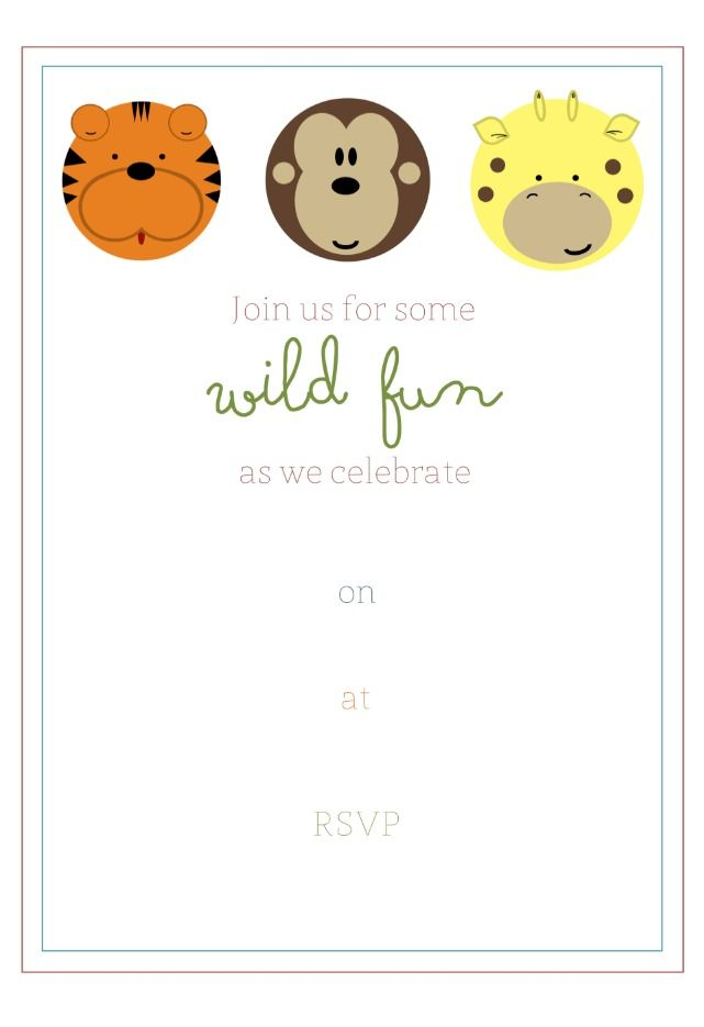 Free Printable Jungle Party Invitation