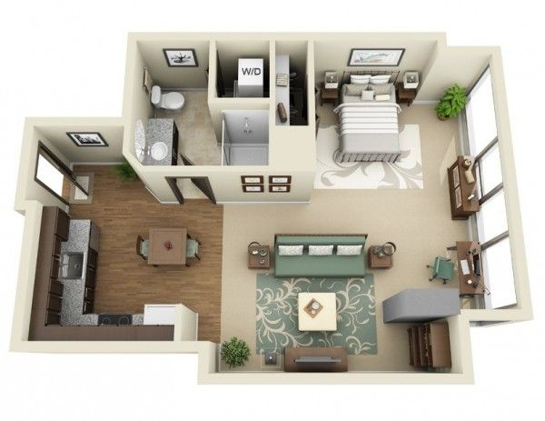 Studio Apartment Floor Plans Tiny Spaces Pinterest Apartment