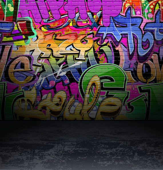 Graffiti Backdrop Colored Brick Wall Distressed Concrete Etsy Graffiti Wall Art Graffiti Wall Urban Street Art
