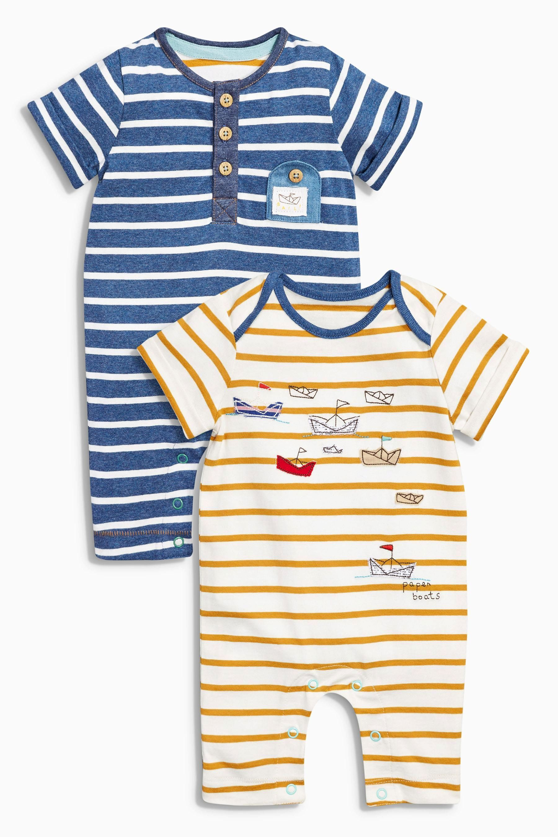 Buy Navy Ochre Boat Rompers Two Pack 0mths 2yrs from the Next UK