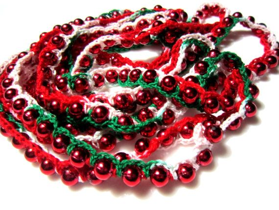 crocheted bead christmas garland with metallic red beads and christmas red white and green cotton thread beaded christmas tree garland - Beaded Christmas Garland