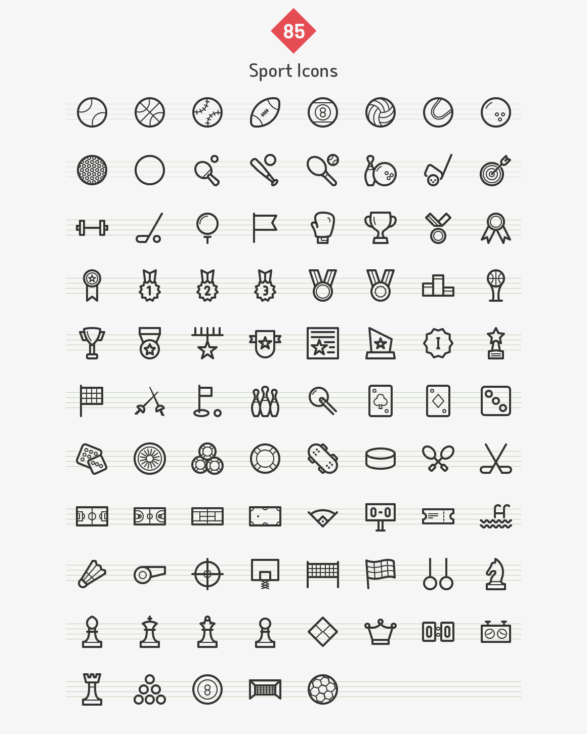 Sport Line Icons - Sharpicons by Dreamstale on Creative Market