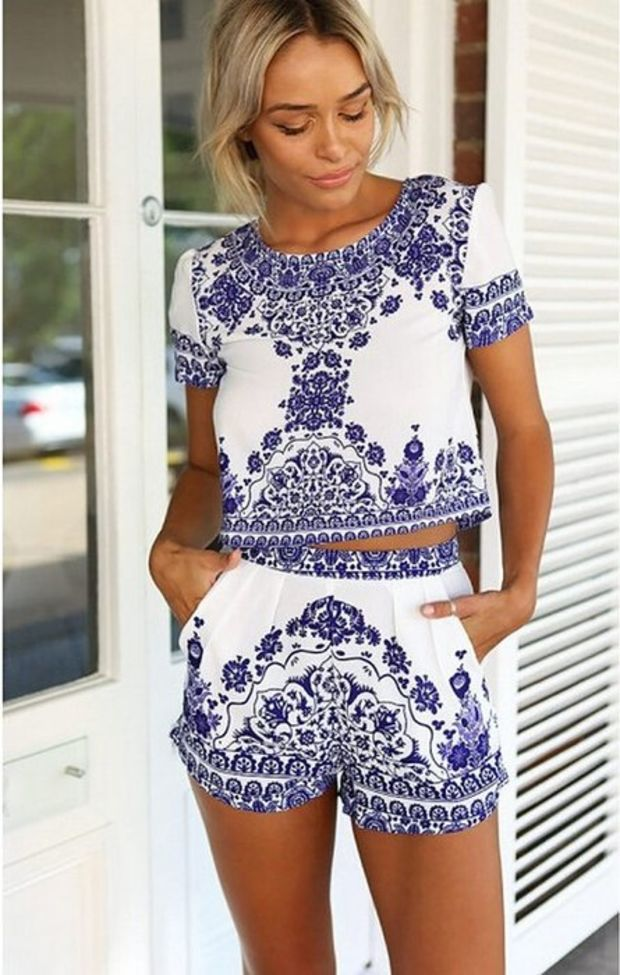172c95b31fb Kranda® Summer Beach Dress Loose T-shirt Top and Short 2 Piece Set Playsuit  Absolutely in love obsessed with this outfit and print