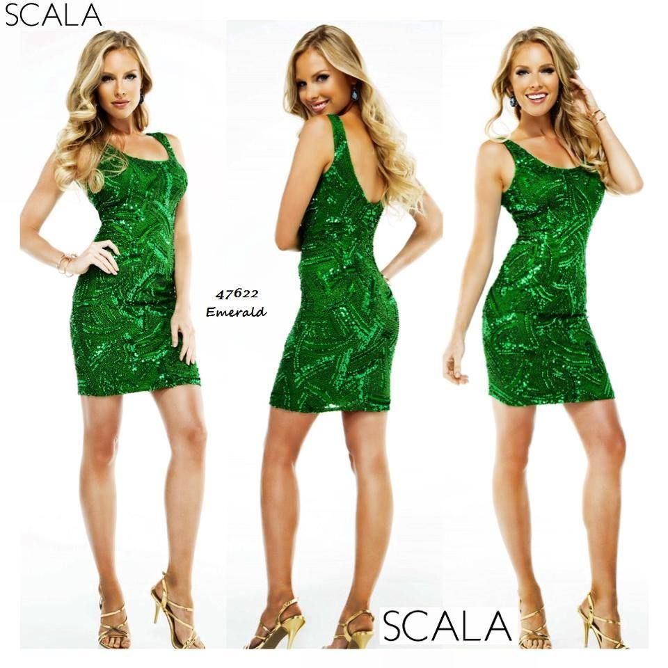 Look & feel amazing in this #Emerald sequined style 47622! Also available Black/Nude, Plum & Navy. www.scalausa.com