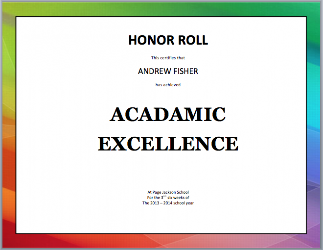 Honor Roll Certificate Template  Template    Honor