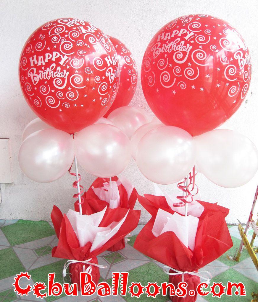 red centerpiece Birthday Balloon Centerpiece Red White Moon
