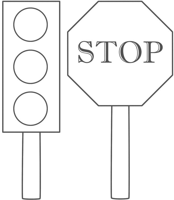 Traffic lights stop sign coloring page