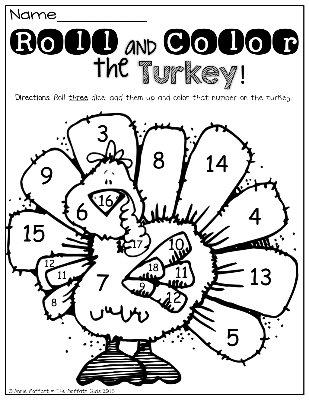 Roll 2 Dice Add Them Up And Color The Turkey