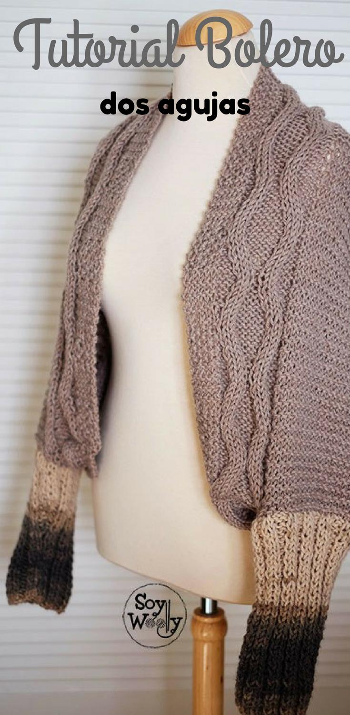 Cómo hacer un bolero manga larga tejido en dos agujas   Knit crochet ...
