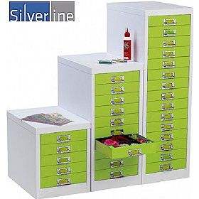 Silverline Two Tone Multi Drawer Cabinets  Filing Cabinets