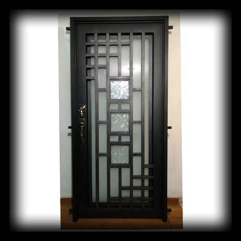 Puerta Principal Herrería Forja Doble Vidrio 18 785 00 Grill Door Design Window Grill Design Steel Door Design
