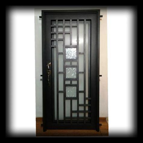 Puerta Principal Herrería Forja Doble Vidrio 18 785 00 Grill Door Design Window Grill Design Steel Door Design