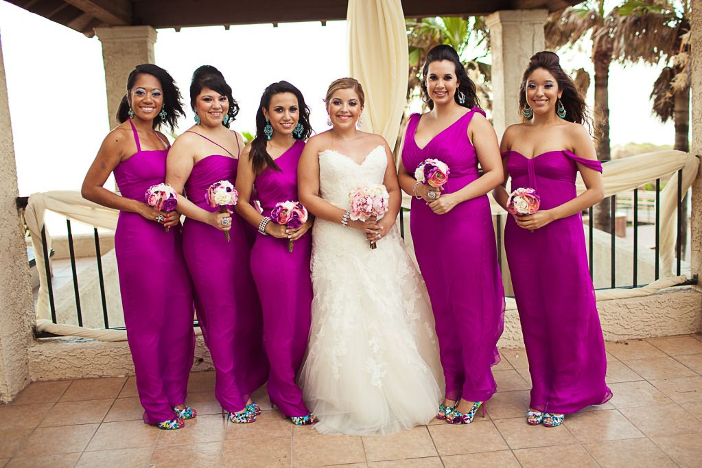 Bridesmaids dresses by Amsale in Cerise. Beautiful :) | wedding ...