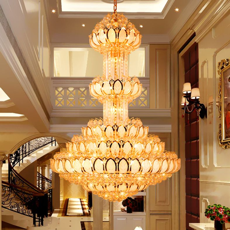 Crystal Chandelier Lighting Fixture Led Gold Chandeliers Lotus