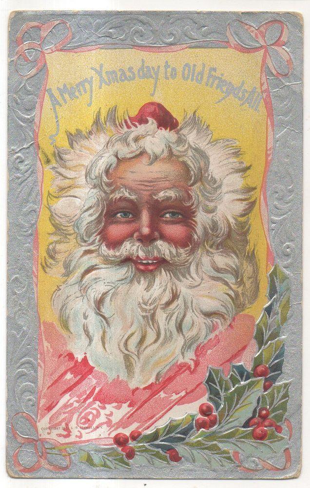 Merry Xmas to Old Friends SANTA CLAUS Wild Mane! Vintage Christmas Postcard #Christmas