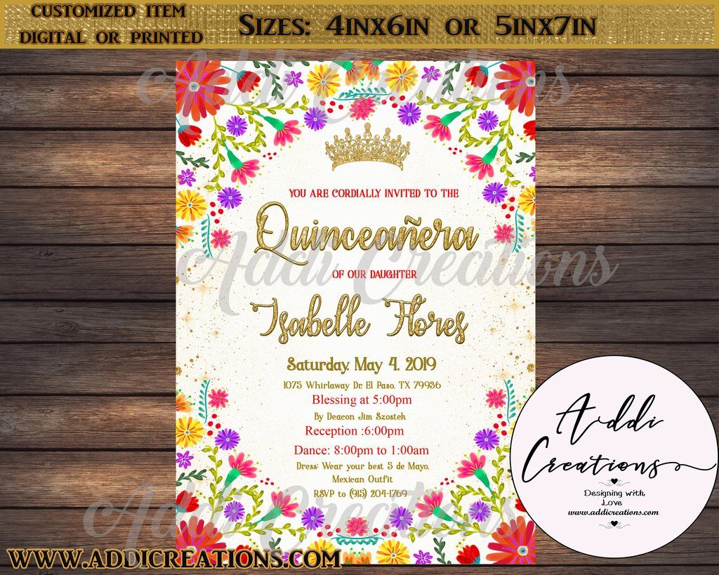 Quinceanera Invitations Customized Item Mexican Theme