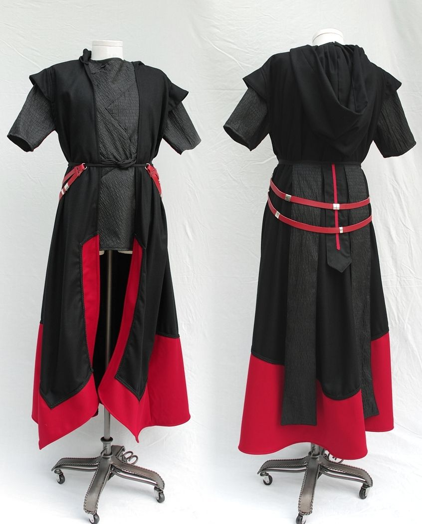 Custom Sith Style Outfit with Red Leather Belting (click